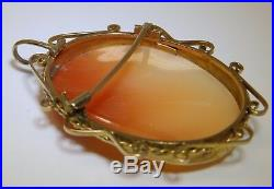 Large Vintage 9 Carat 9ct Yellow Gold Shell Cameo 3 Graces Brooch Pin Pendant