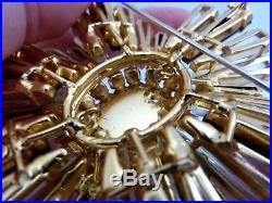 Large Vintage Signed Schreiner Ruffle Keystone Black Gold Rhinestone Pin Brooch