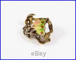 Lovely 14k Gold Art Nouveau Enamel Pearl Diamond Butterfly Woman Brooch Pin