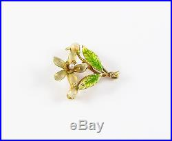 Lovely 14k Gold Art Nouveau Krementz Enamel Floral Motif Pearl Brooch Watch Pin