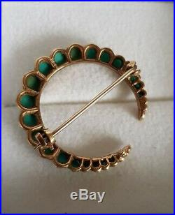 Lovely Antique Victorian 9ct Gold & Turquoise Crescent Moon 375 Brooch Pin 4.5g