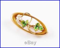 Lovely Petite 10k Gold Art Nouveau Enamel Pearl Maple Leaf Brooch Pin
