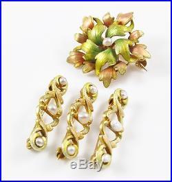 Lovely Petite 14k Gold Art Nouveau Enamel Pearl Floral Brooch & Scatter Pin Set