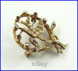 Lovely Victorian 14 K Gold Swallow & Bow Brooch / Pin with Seed Pearls & Garnets