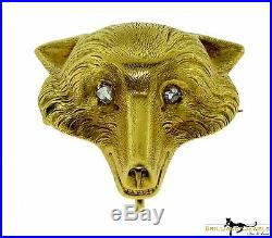 Magnificent Yellow Gold Fox Brooch / Pin with Diamond Eyes
