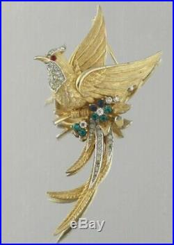 Mid 1950s Signed Gold Marcel Boucher Bird of Paradise Brooch Pin Book Piece