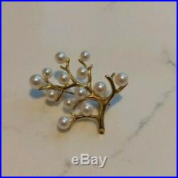 Mikimoto 18k Yellow Gold White Pearl Branch Brooch, Pin, Vintage