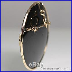 Ming's Hawaii Black Jade Disc Brooch Pin 14k Gold Very Large Mings Jewelry
