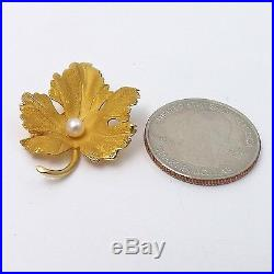 Mint 14k Gold 3D Sugar Maple Leaf 4mm Akkoya Pearl Brooch Pin 3.1gr