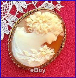 Minty Art DECO 14K Gold Marked CAMEO Flora Brooch Pin Pendant Carved Shell