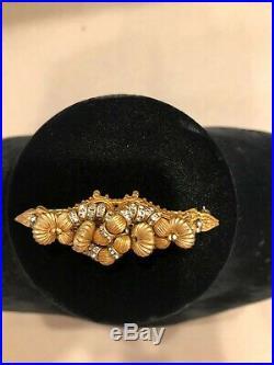 Miriam Haskell Golden Bead Glass Rhinestone Gold Plate Vintage Bar Brooch Pin