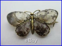 Moss Agate 9k Gold Butterfly Brooch Pin Antique Georgian c1820. Tbj06768