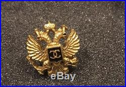 Most Wanted Chanel Moscow 09a Small Dimitri CC Eagle Gold Pin Brooch For Jacket