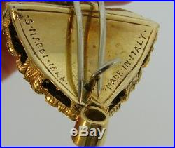 NARDI Zircon Yellow Gold Blackamoor Pin BROOCH Clip Italy 1950s
