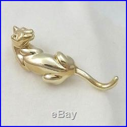NEW 3D 14k Yellow Gold Sleek Panther Jaguar Brooch Pin Pendant 4gr