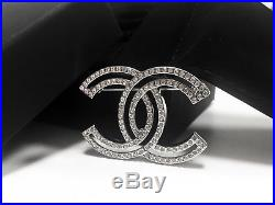 NEW CC Classic Chanel brooch fully Crystal pin 18k-white-gold tone metal WithBOX
