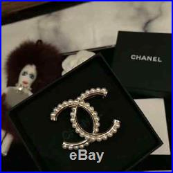 NEW CHANEL brooch Classic CC logo pin white-pearls&gold tone metal