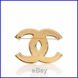 NEW Chanel Gripoix Poured Glass Brooch Pin Black Gold Metal CC Logo 2019 Resine