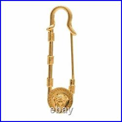 NEW Versace Gold Tone Medusa Safety Pin Brooch