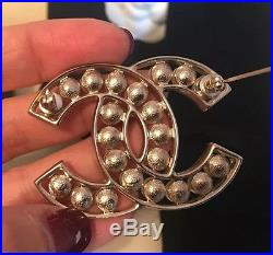 NIB 2017 Chanel XL Extra Large Gold Classic CC Pearl PIN Brooch With Receipt