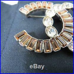 NIB Chanel 17B Brown Crystals/Gold Hardware CC Brooch/Pin