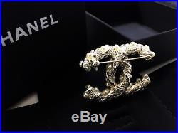 NIB original CHANEL coco logo white pearls pale gold brooch classic pin