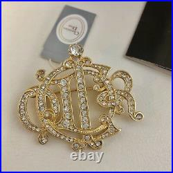 NWB RARE Christian Dior Logo Monogram Gold Tone Rhinestone Crystal Brooch Pin