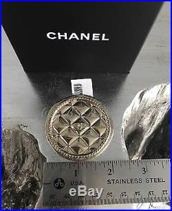 NWT CHANEL Gold Coin Quilted Medallion CC Charm Classic Brooch Pin NEW NIB