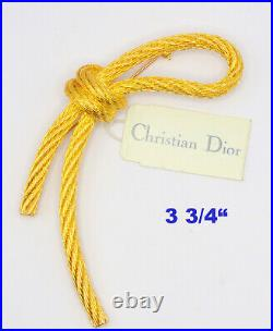 NWT Vintage Signed Christian Dior Large Gold Knot Rope Brooch Pin