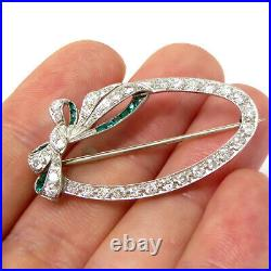 NYJEWEL 18k White Gold Vintage Bow Tie 1ct Diamond & Emerald Pin Brooch