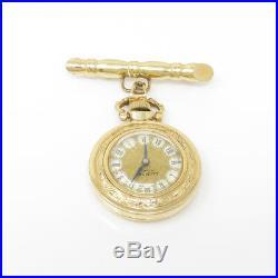 NYJEWEL Lee Mors 14k Yellow Gold Vintage Pocket Watch Brooch Pin Running