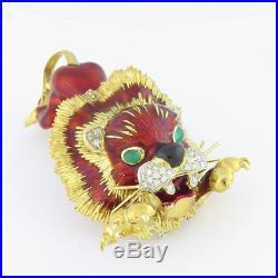 NYJEWEL Modele Depose 18k Gold Italy Vintage Diamond Onyx Enamel Lion Pin Brooch