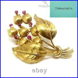 NYJEWEL Tiffany & Co. 18K Yellow Gold Lily of the Valley Ruby Pin Brooch