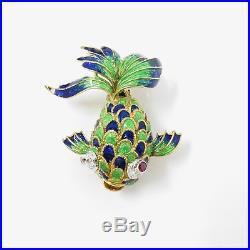 NYJEWEL Tiffany & Co. 18k Gold Amazing Fish Ruby Diamond Enamel Pin Brooches
