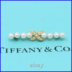 NYJEWEL Tiffany & Co 18k Yellow Gold Pearl Diamond Infinity Pin Brooch