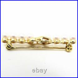NYJEWEL Tiffany & Co 18k Yellow Gold Pearl Infinity Pin Brooch