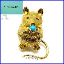 NYJEWEL Tiffany & Co. 18k Yellow Gold Turquoise Ruby Mouse Pin Brooch