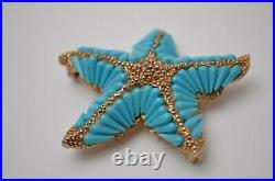 Nautical starfish blue turquoise gold star brooch pin, HAR Vintage jewelry 1960s