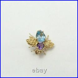New 14K Gold Blue Topaz Amethyst Bumble Bee Fly Brooch Pin