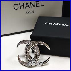 New 2018 CHANEL Brooch Full Diamond CC Logo White Gold Brooch/Pin