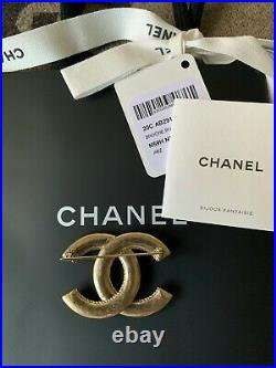 New Chanel Classic Gold-Tone CC Logo Metal Brooch Pin 20C