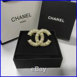 New Chanel Classic Large CC Logo Gold Anniversary Pearl Brooch Pin