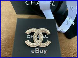 New Chanel Gold Brooch Pin Pearls Authentic Fashion Jewelry