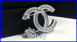 New Classic Chanel CC Logo pin 18k White Gold Crystal Pearls brooch