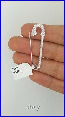 New Large 18k White Gold Round Diamond Pave Safety Pin Brooch Pendant Opens Up