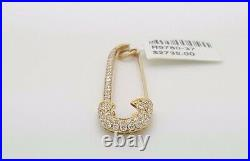 New Large 18k Yellow Gold Round Diamond Pave Safety Pin Brooch Pendant Opens Up