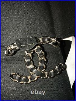 New Only 1 NIB CHANEL XL Jumbo CC Logo Matte Gold Black Leather Pin Brooch