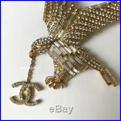 Nib Chanel XL Large 01p Gold Eagle CC Prey Crystal Runway Brooch Pin