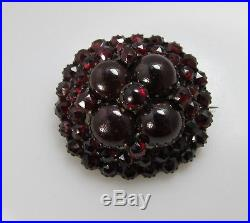 Nice Victorian Large Bohemian Garnet Cluster Pin Brooch Gold Over Silver Vintage