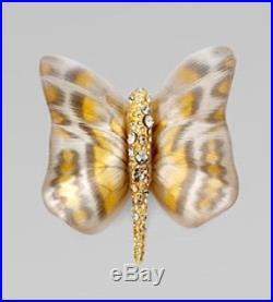 Nwt Alexis Bittar Zanzibar Butterfly Brooch Pin Amber Gold Lucite